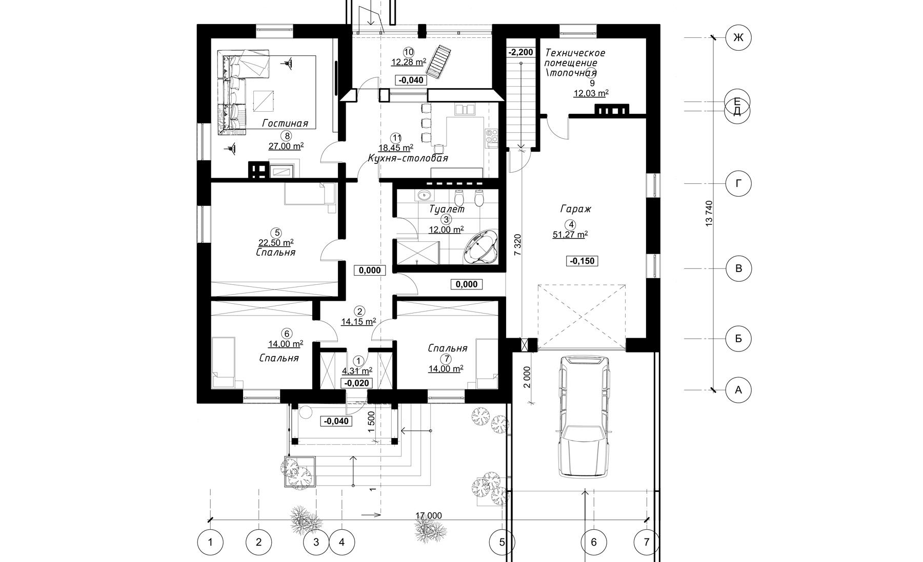Проект 1 этажный из блоков(кирпича) с террасой и гаражом AD