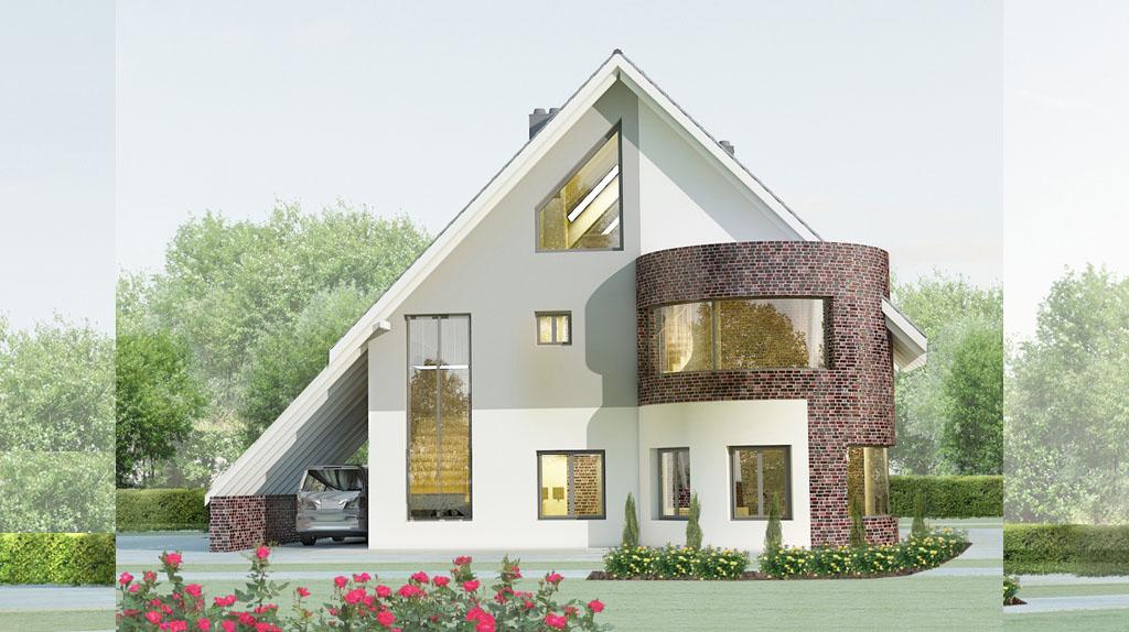 Проект мансардного дома с гаражом 12D