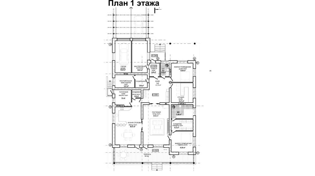 Проект 1 этажного дома с террасой DI-140