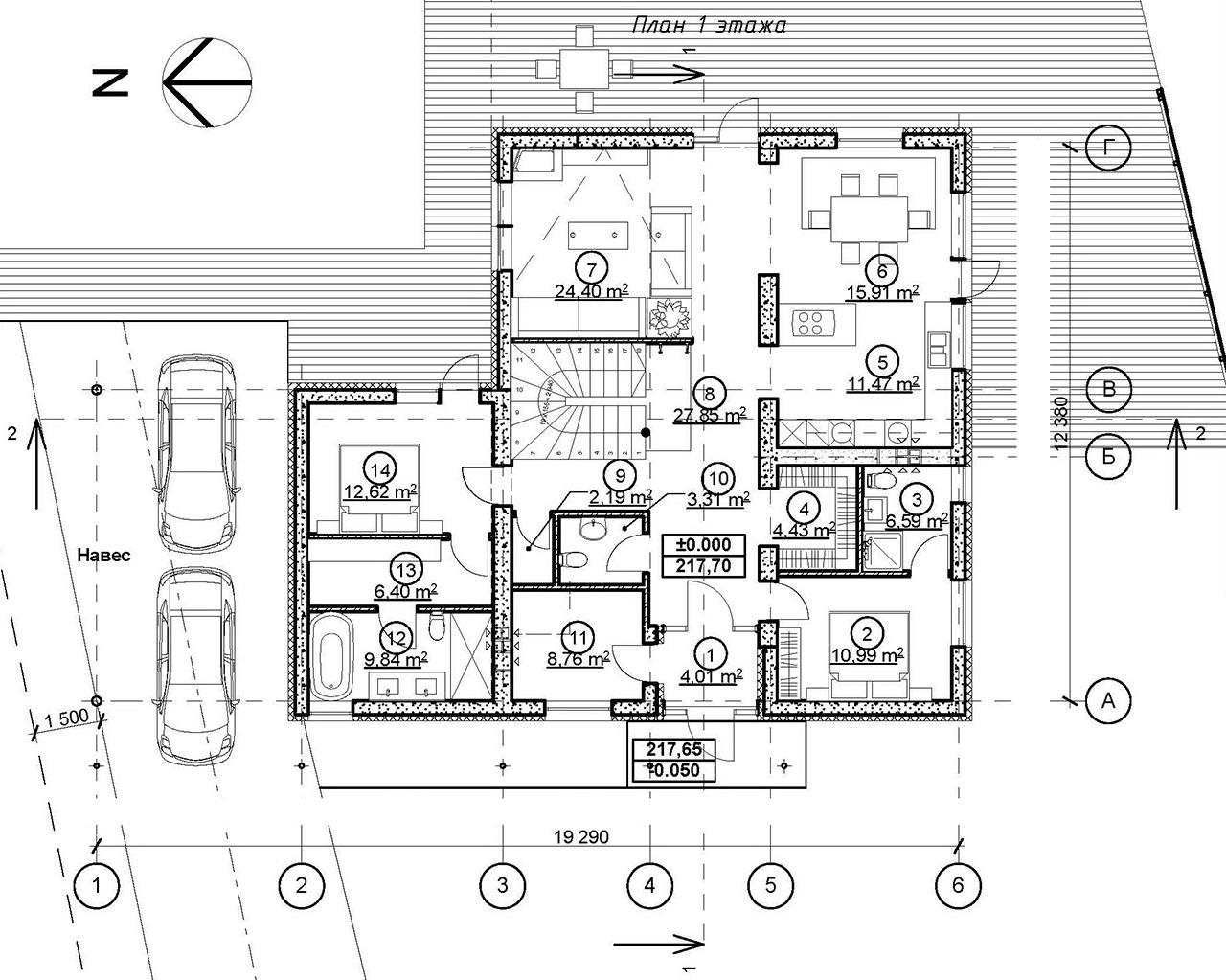 Проект мансардного дома с террасой и гаражом DI-16