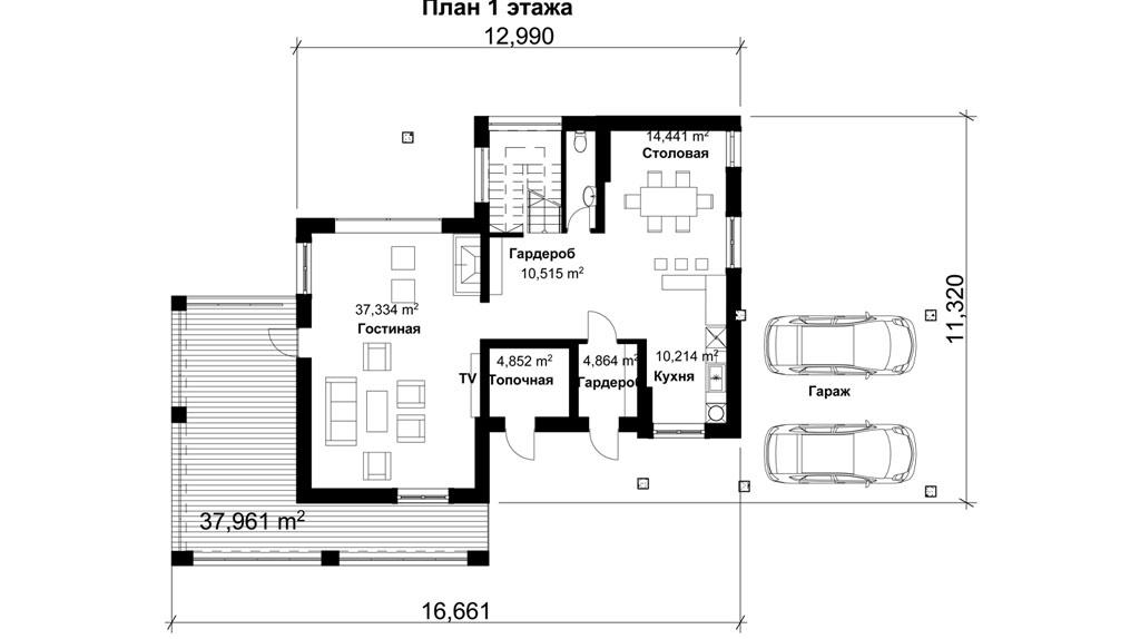 Проект 2 этажный с гаражом DI-67
