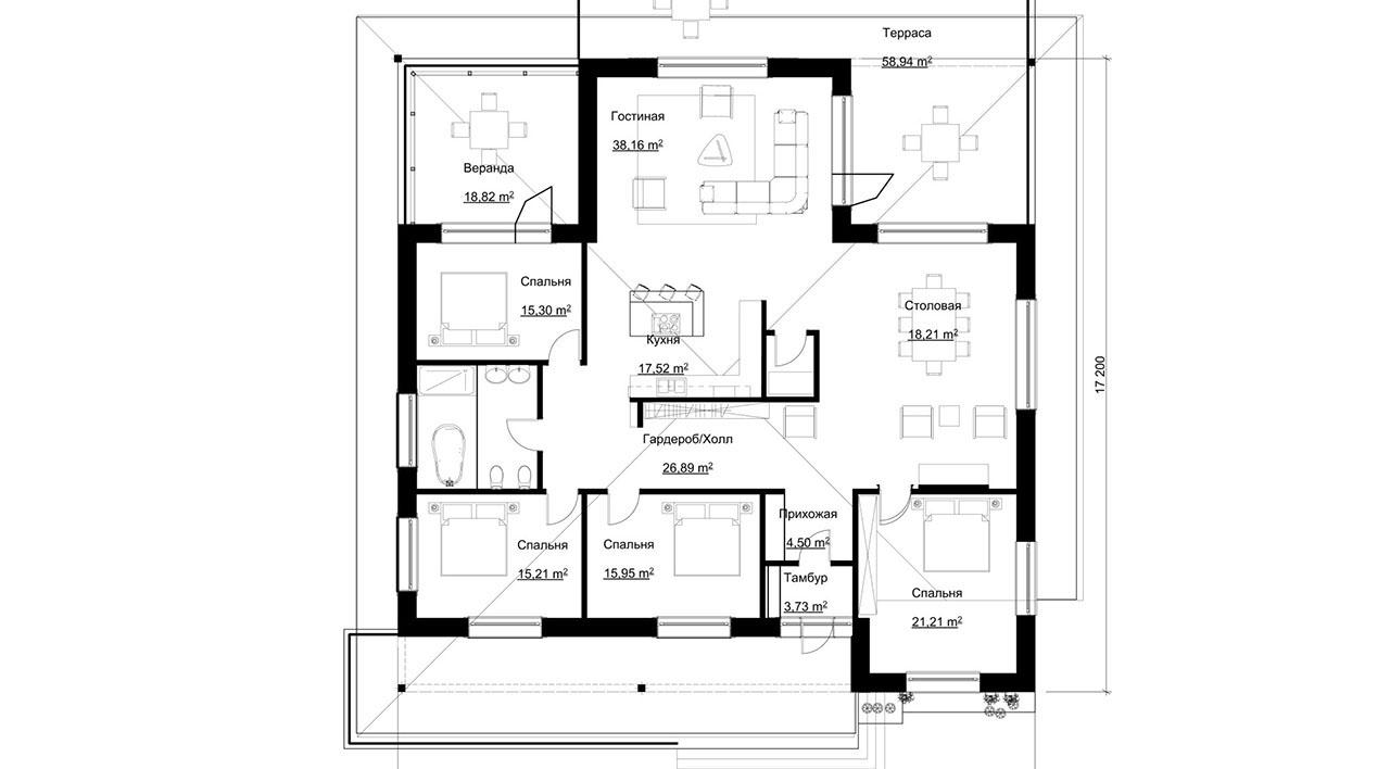 Проект 1 этажного дома из блоков с террасой DI-B