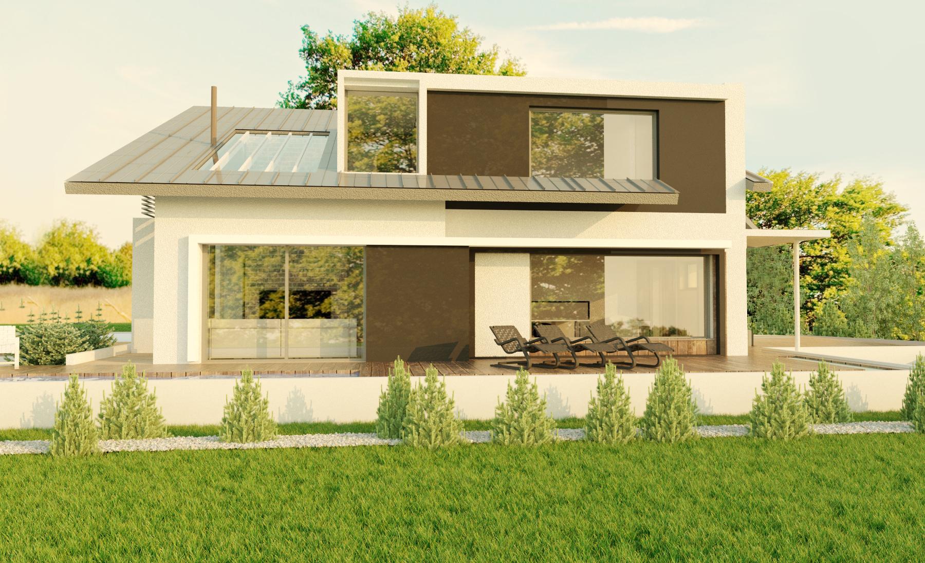 Проект мансардного дома, блочного с террасой DZ