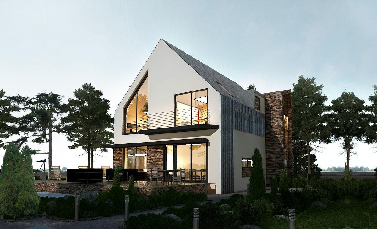 Проект мансардный с террасой, модерн GD