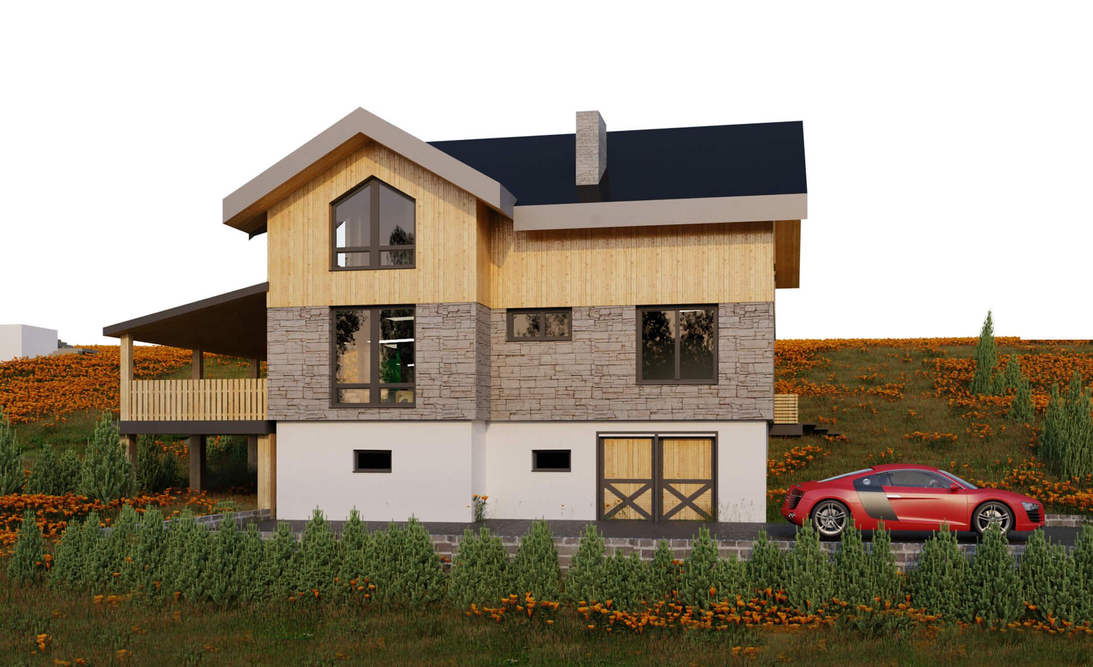 Проект 2 этажного дома с цоколем, террасой, навесом  ES