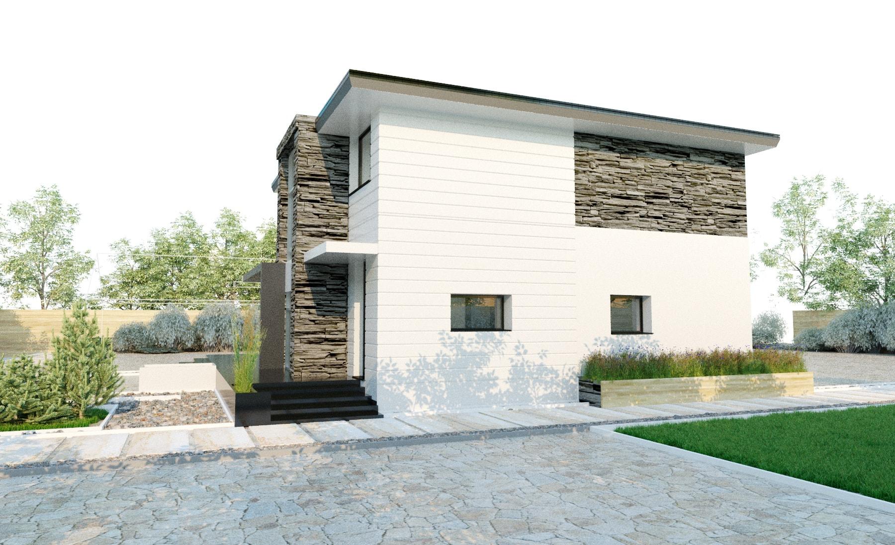 Проект 2 этажного дома из кирпича с террасой JS