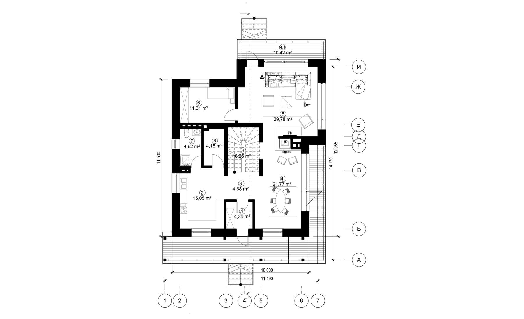 Проект 2 этажного дома с плоской кровлей, террасой -LS