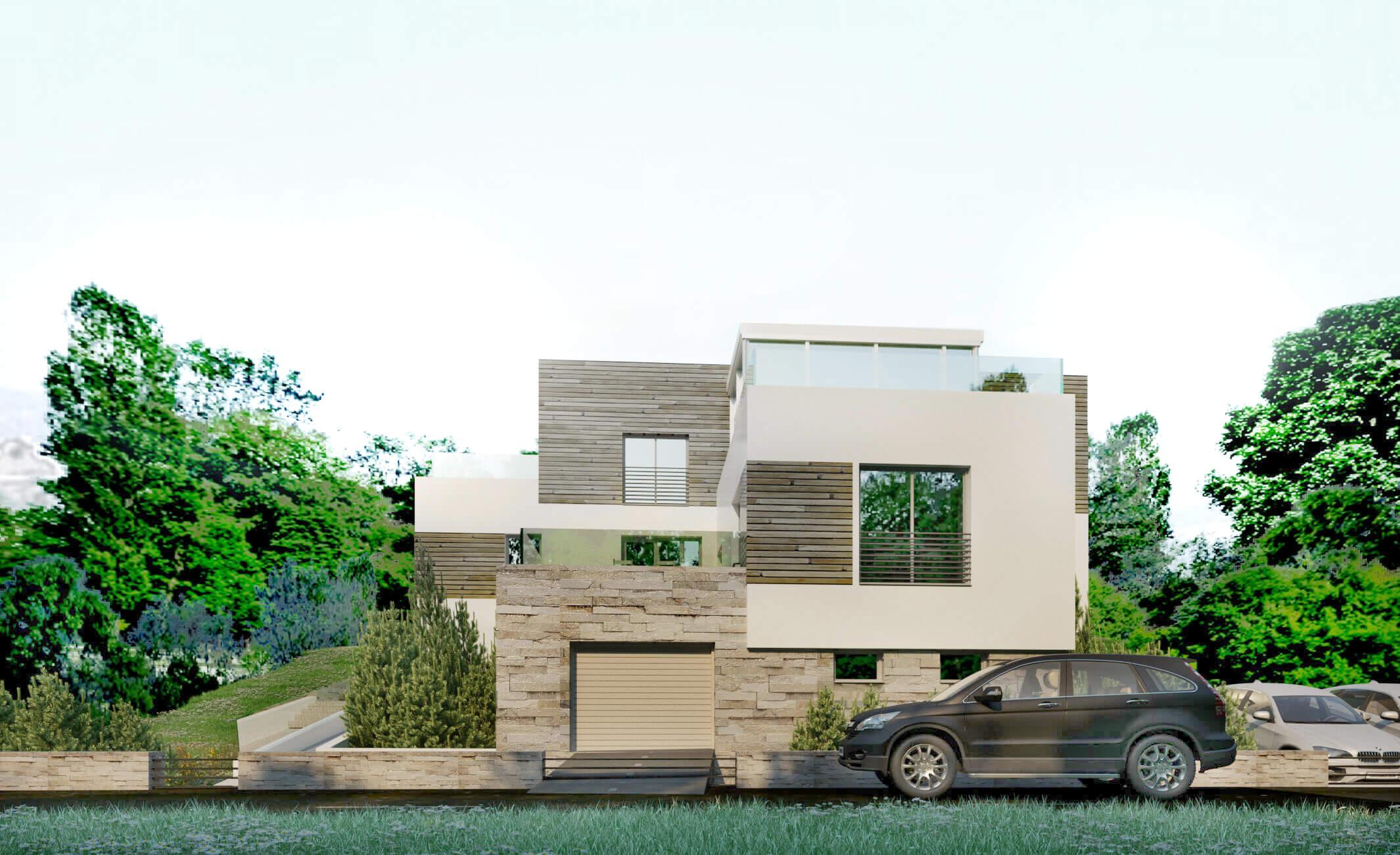 Проект 2 этажного дома на рельефе с цоколем, террасой, плоской кровлей IN