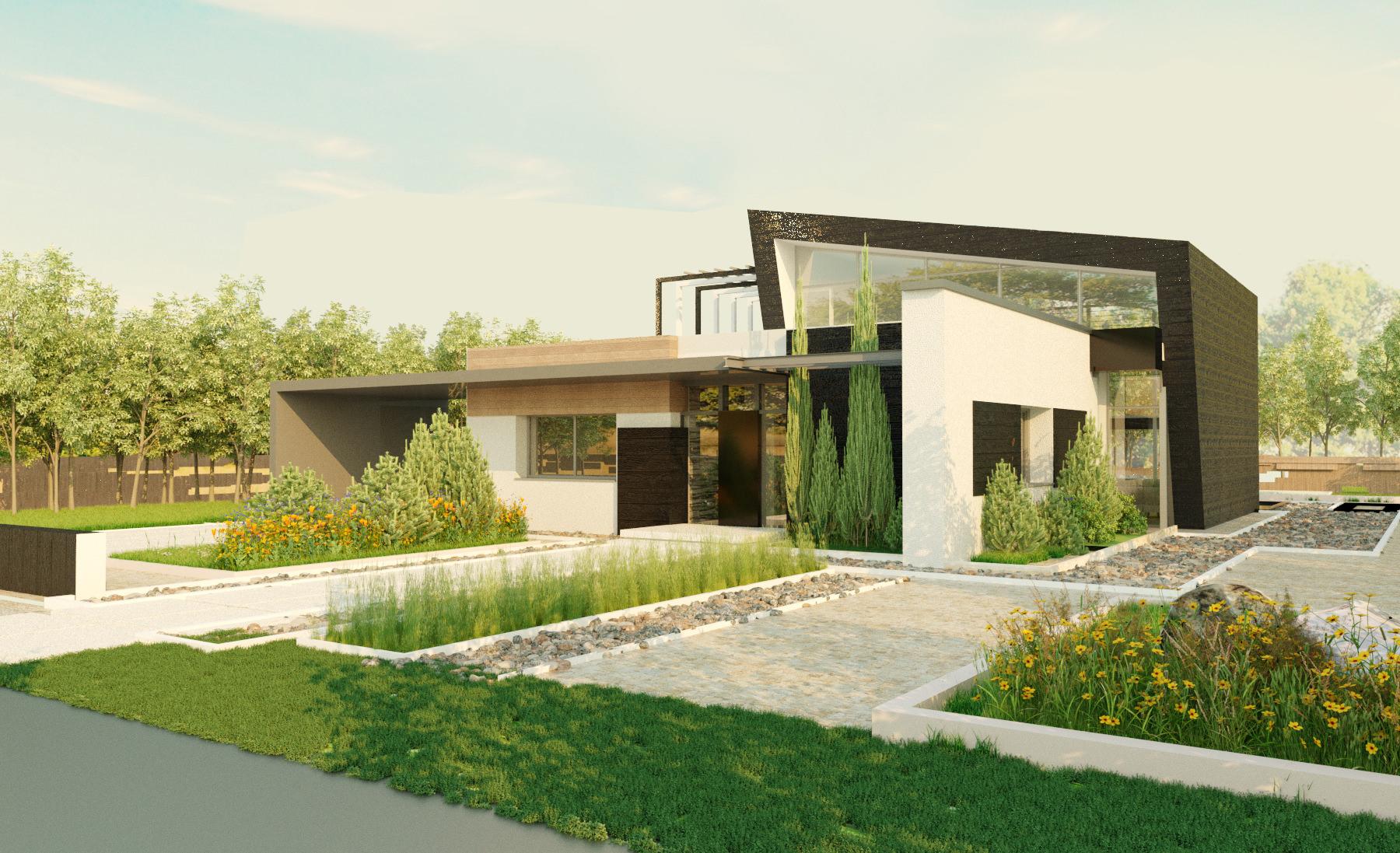 Проект 1 этажного дома с террасой PA17