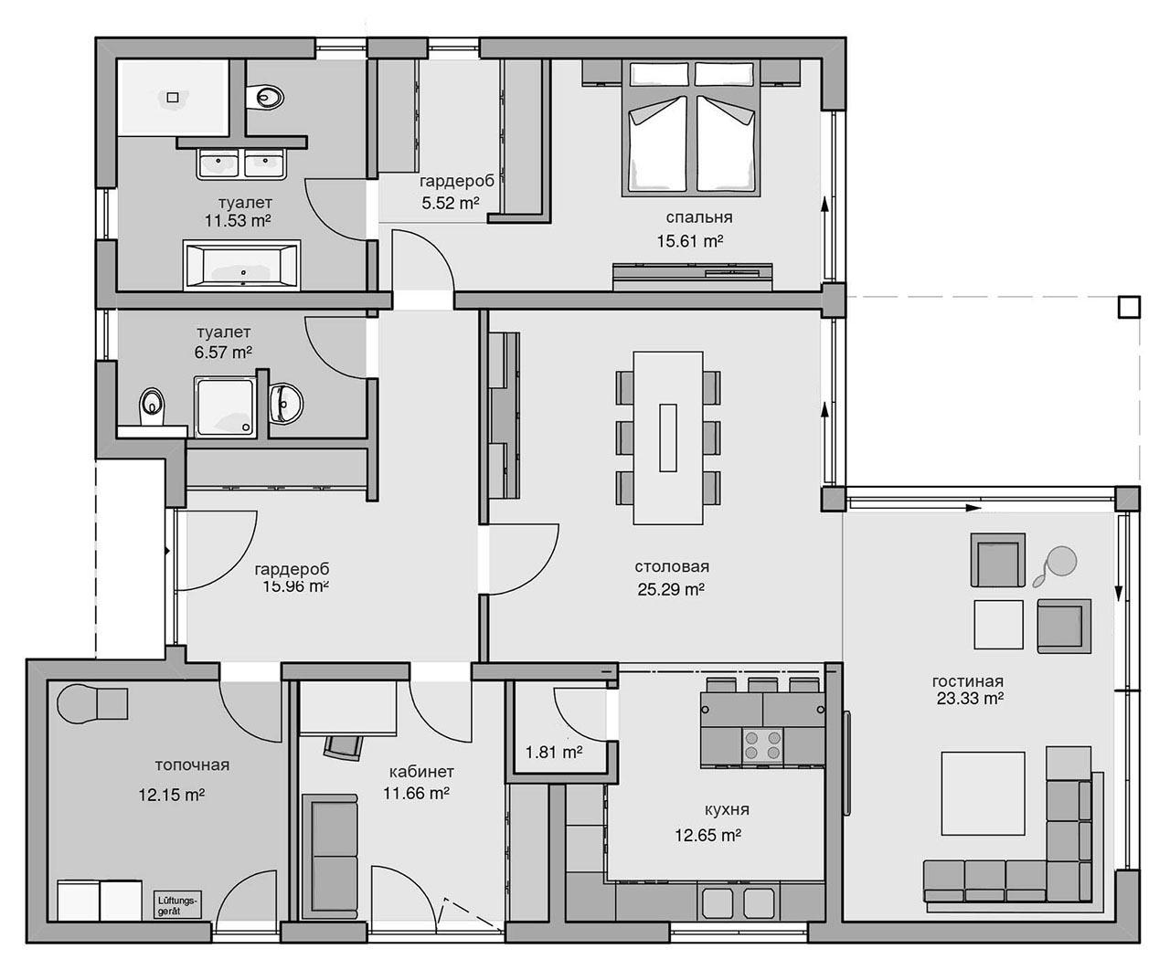 Проект дома с плоской крышей, террасой PP-22