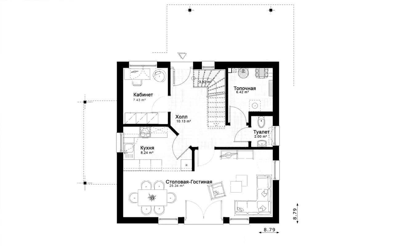 Проект мансардного дома, блочный, с террасой PP-76