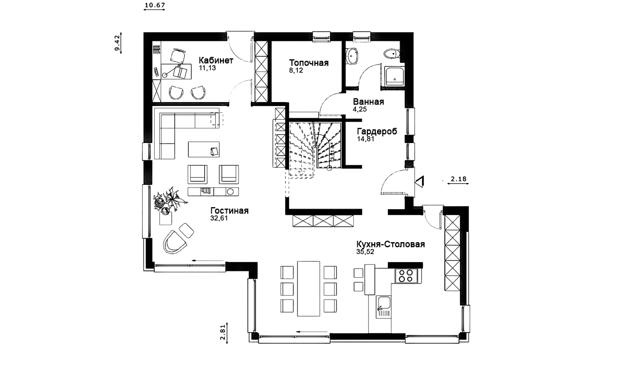 Проект мансардного дома из блоков и скатной кровлей PP-84