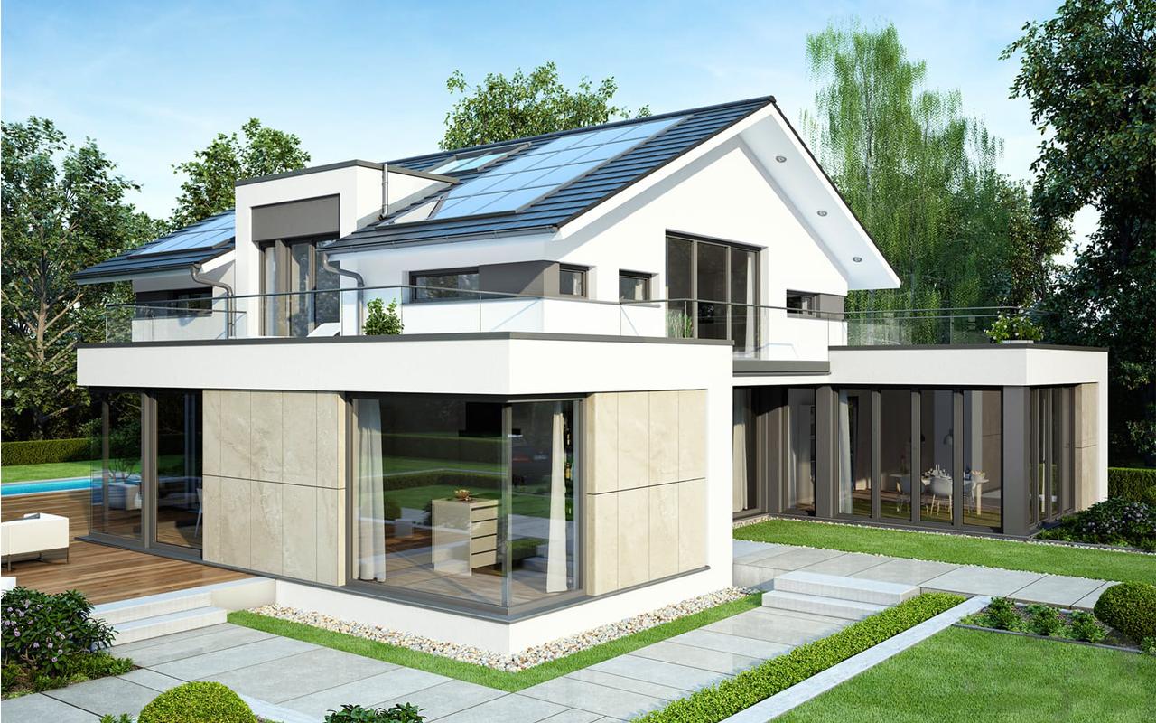 Проект мансардного блочного дома с террасой, скатной кровлей PP-88