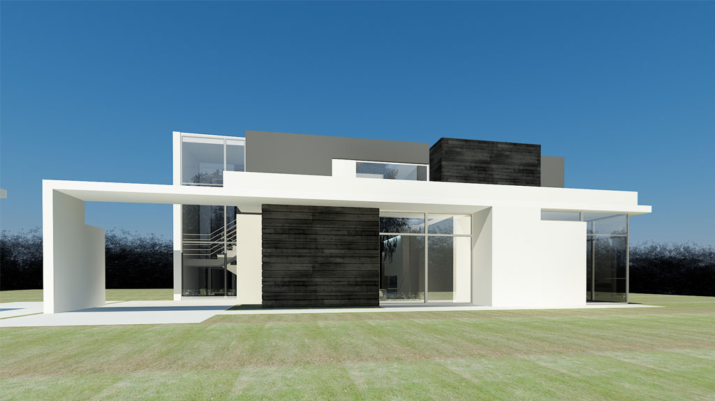 Проект дома с плоской крышей, террасой, модерн ММХ2