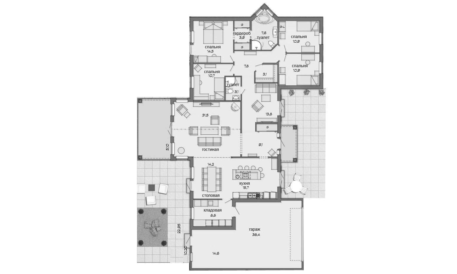 Проект 1 этажного дома с террасой PP39