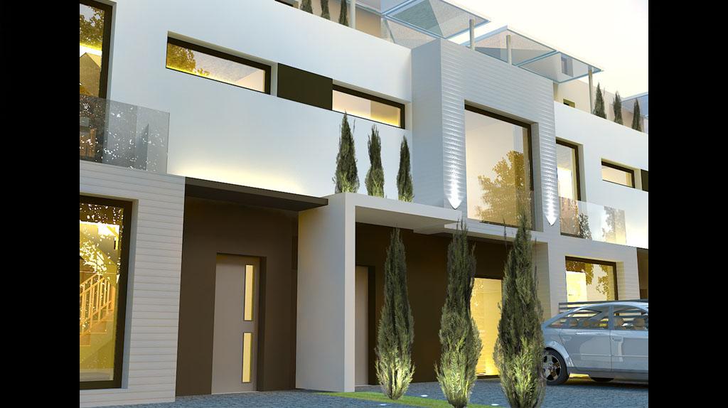Проект блокированного дома , минимализм PP43B