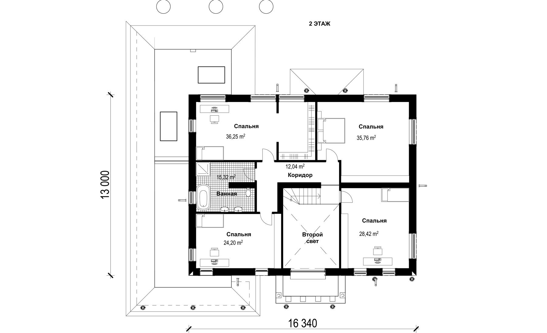 Проект 2 этажного дома из блока с терассой TD