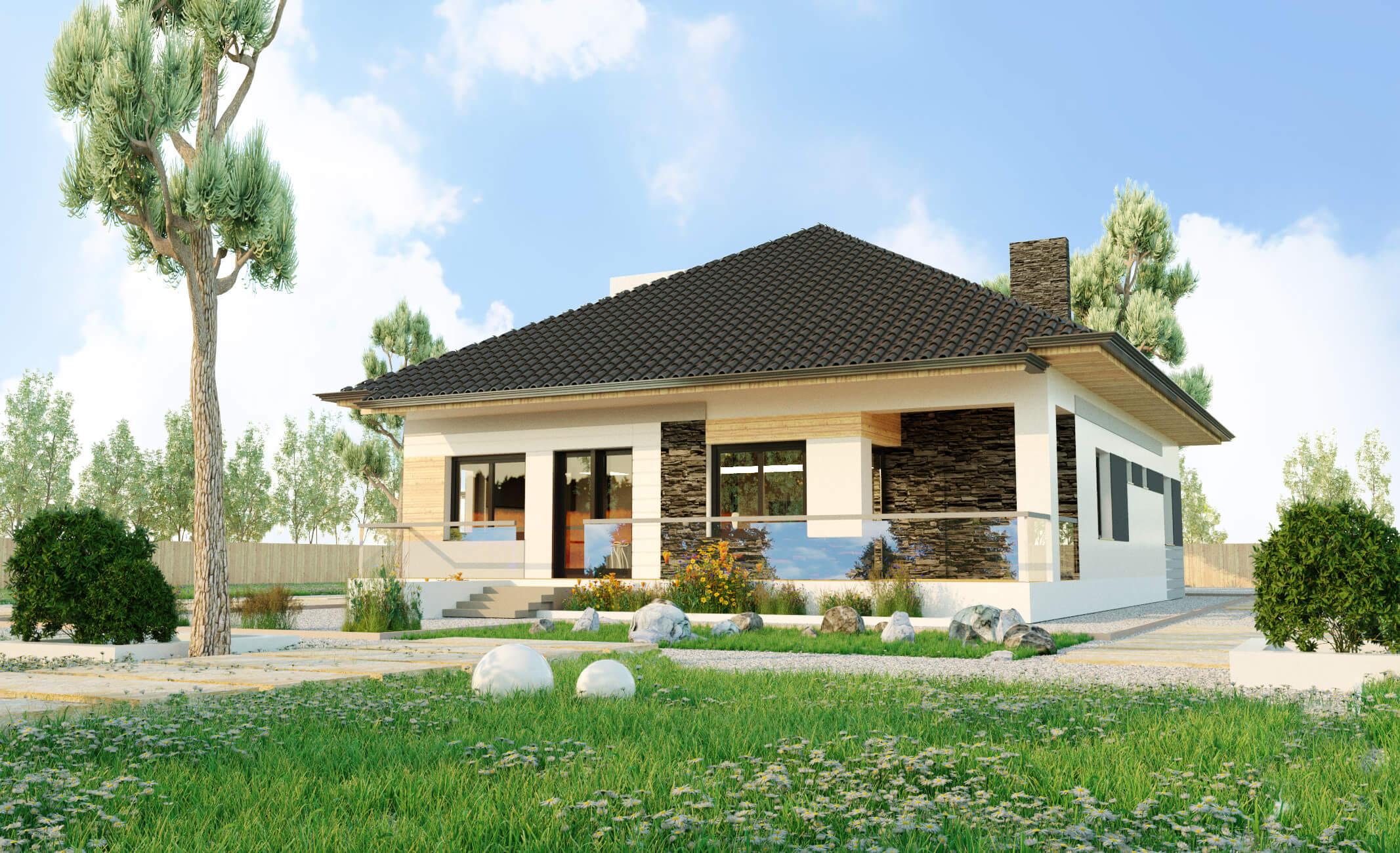 Одноэтажный дом из профилированного бруса с гаражом