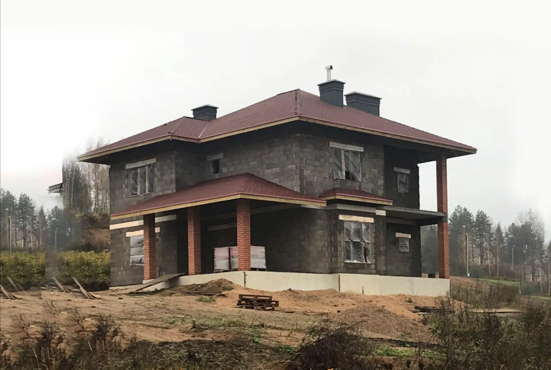 Проект 2 этажного  дома из блоков с террасой -NB