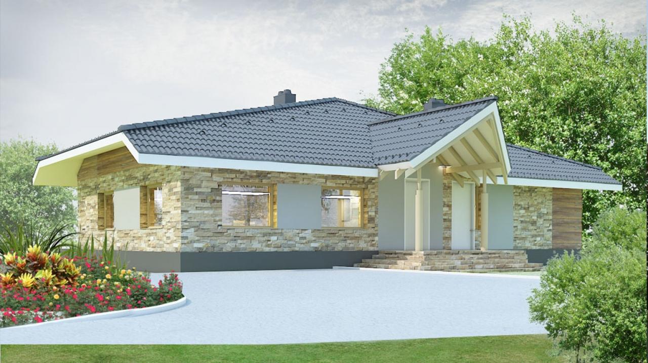 Проект 1 этажного дома с террасой DI-24