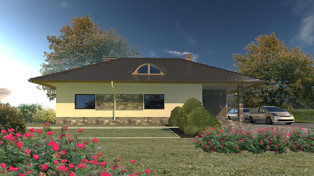 Проект 1 этажного дома с террасой АN