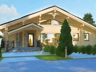 Проект мансардного деревянного дома DD4