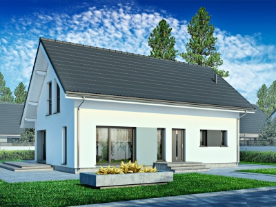 Проект мансардного дома из блоков с террасой PP-73