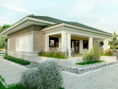 Проект 1 этажного четырехскатного дома, блочный, с террасой KN