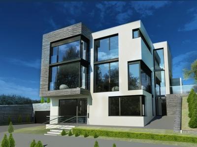 Проект 2 этажного дома с плоской кровлей,террасой ZP